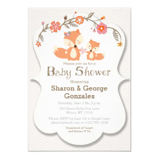 Woodland Fox Floral Baby Shower Invitation