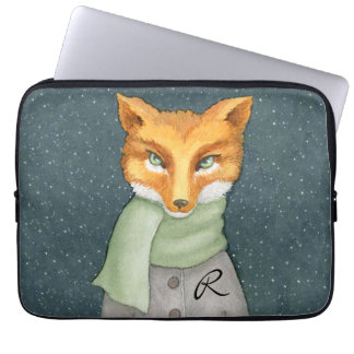 Woodland Fox in Winter with Monogram Laptop Sleeve
