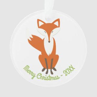 Woodland Fox Merry Christmas - Circle Ornament