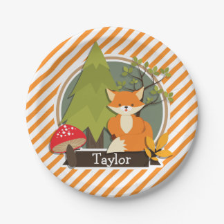Woodland Fox; Orange and White Stripes Paper Plate