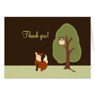 Woodland Fox & Owl Folded Thank you notes Greeting Cards