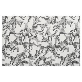 woodland fox party black white fabric