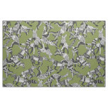 woodland fox party green fabric