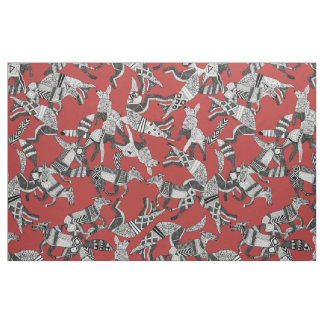 woodland fox party red fabric