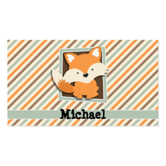 Woodland Fox; Sage Green, Orange, Brown Stripes Pack Of Standard Business Cards