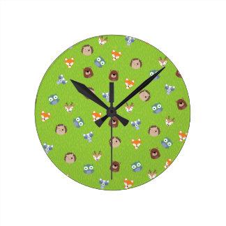 Woodland Friends - Fox Bear Raccoon Hedgehog Deer Clocks