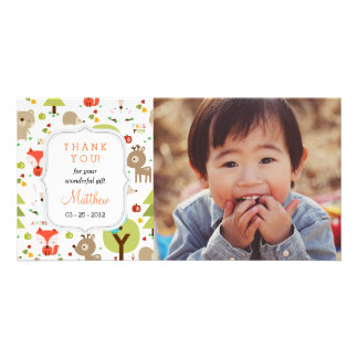 Woodland Friends Photo Any Occasion Thank you Customized Photo Card