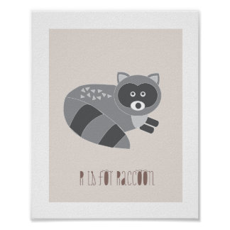 Woodland Friends - R is for Raccoon Art Print