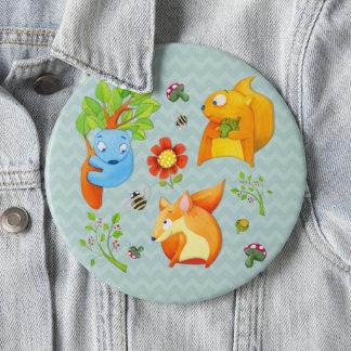 Woodland Fun aqua Button