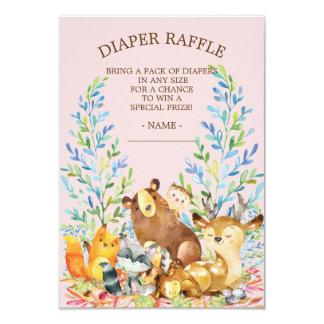 Woodland Girls Baby Shower Diaper Raffle Ticket Card