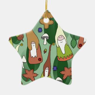 Woodland Gnomes Ceramic Ornament