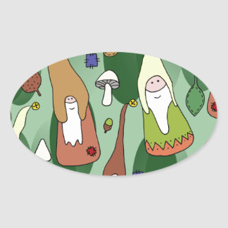 Woodland Gnomes Oval Sticker
