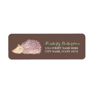 Woodland Hedgehog Address Label / Brown