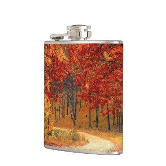 Woodland in Fall Hip Flask