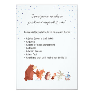 Woodland Late night diaper game Table sign Boy Card