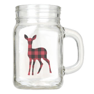 Woodland Mason Jar Drinkware with Red Flannel Deer