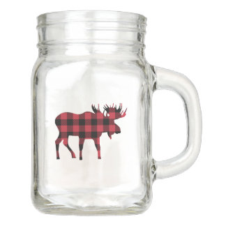 Woodland Mason Jar Drinkware with Red Flannel Moos