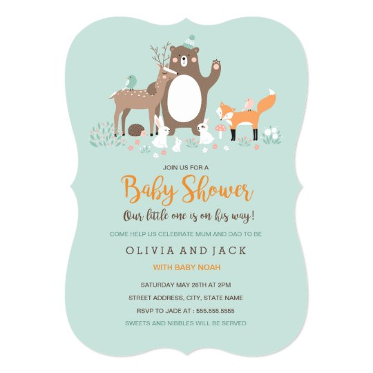 Woodland Mint and Orange Baby Shower Invite