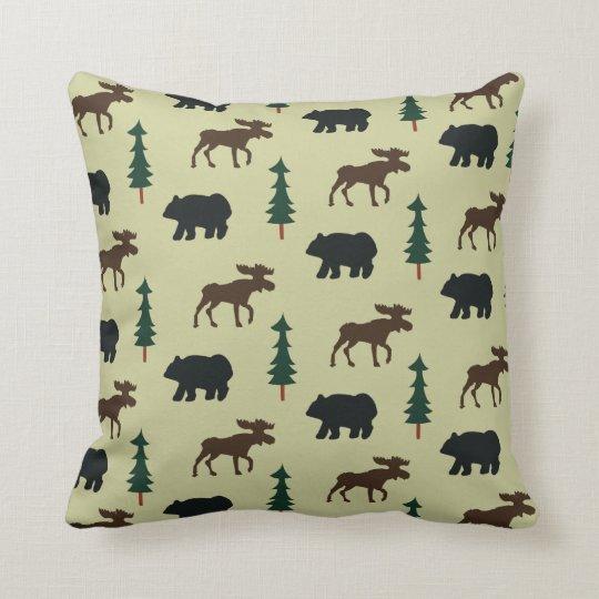 Woodland Moose and Bear Rustic Pillow - Green