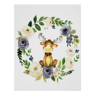 Woodland moose navy floral nursery print