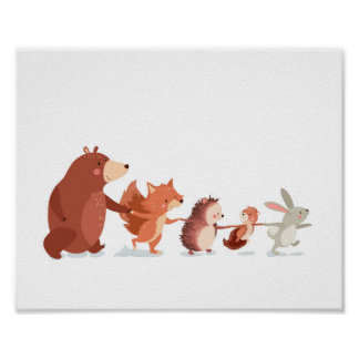 Woodland nursery Animal Wall decal Kids Bear Fox Poster