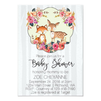 Woodland Nursery Baby Deer and Fox Baby Shower Card