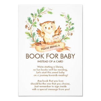 Woodland Owl Baby Shower Book for Baby Card