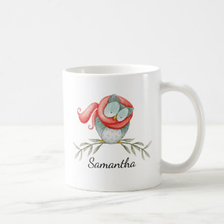 Woodland Owl in Red Scarf with Name Coffee Mug