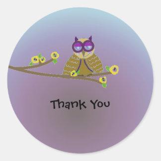 Woodland Owl Thank You Round Sticker