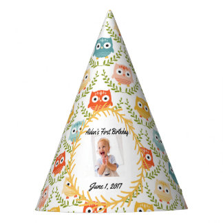 Woodland Owls Personalized Photo Party Hat