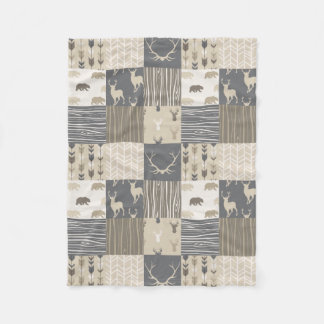 Woodland Patchwork Blanket in Tan and Grey