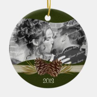 Woodland Pines Photo Ceramic Ornament