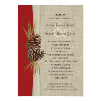 Woodland Pines Red Wedding Card