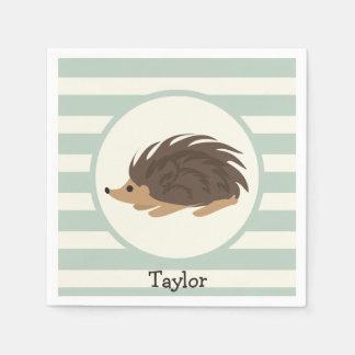 Woodland Porcupine, Hedgehog; Light Sage Green Disposable Napkin