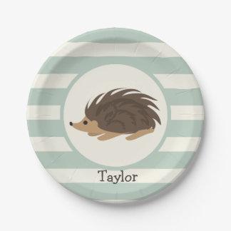 Woodland Porcupine, Hedgehog; Light Sage Green Paper Plate