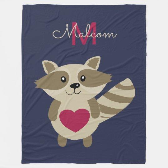 Woodland Raccoon Adorable Monogrammed Personalized Fleece Blanket