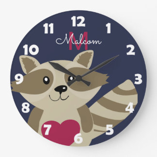 Woodland Raccoon Adorable Monogrammed Personalized Wall Clocks
