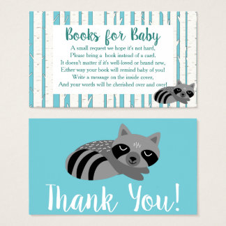 Woodland Raccoon & Birch Trees Book Request Business Card