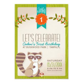 Woodland Raccoon Birthday Invitation