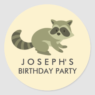 Woodland Raccoon Birthday Sticker
