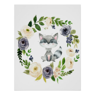 Woodland raccoon navy floral nursery print