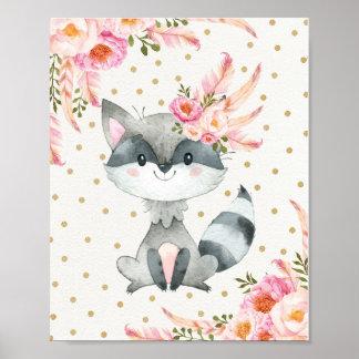 Woodland Raccoon Nursery Art Boho Floral Decor