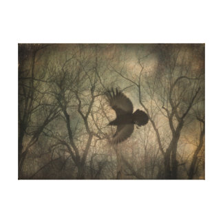 Woodland Raven Nature Art Canvas Print