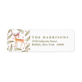 Woodland Reindeer Happy Holidays Personalized Return Address Label