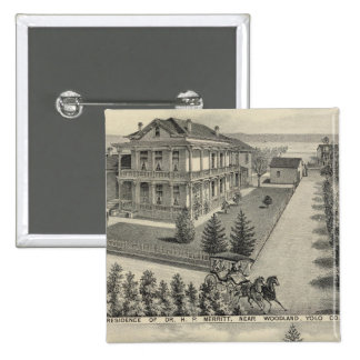 Woodland residences lithographed drawing 2 inch square button