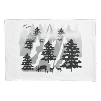 Woodland Rustic Deer Winter Mountain Forest Trees Pillowcase