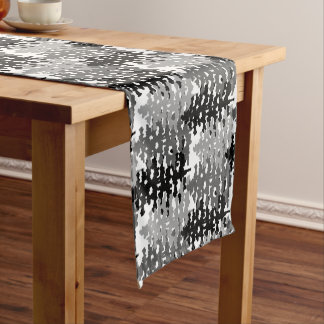 Woodland Rustic Gray Forest Pine Trees Winter Short Table Runner