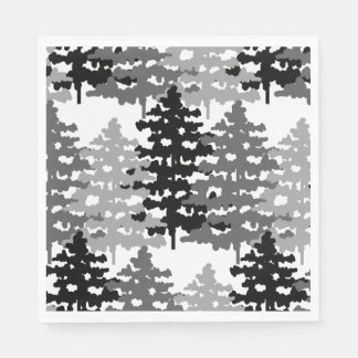 Woodland Rustic Gray Forest Winter Pine Trees Paper Napkin