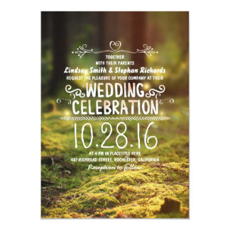 woodland  rustic outdoor wedding invitations