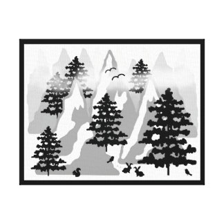 Woodland Rustic Pine Tree Mountain Animal Nursery Canvas Print